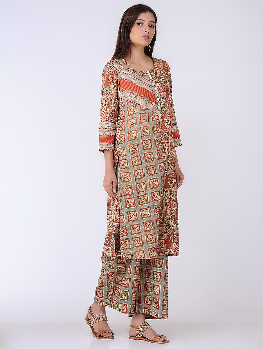 3eb4ebda3b08b Beige-Rust Printed Cotton Kurta   Shopping   Summer outfits, Cotton ...