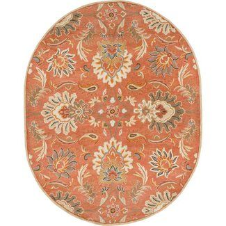 Charlton Home Gaither Hand Woven Wool Burnt Orange Area Rug