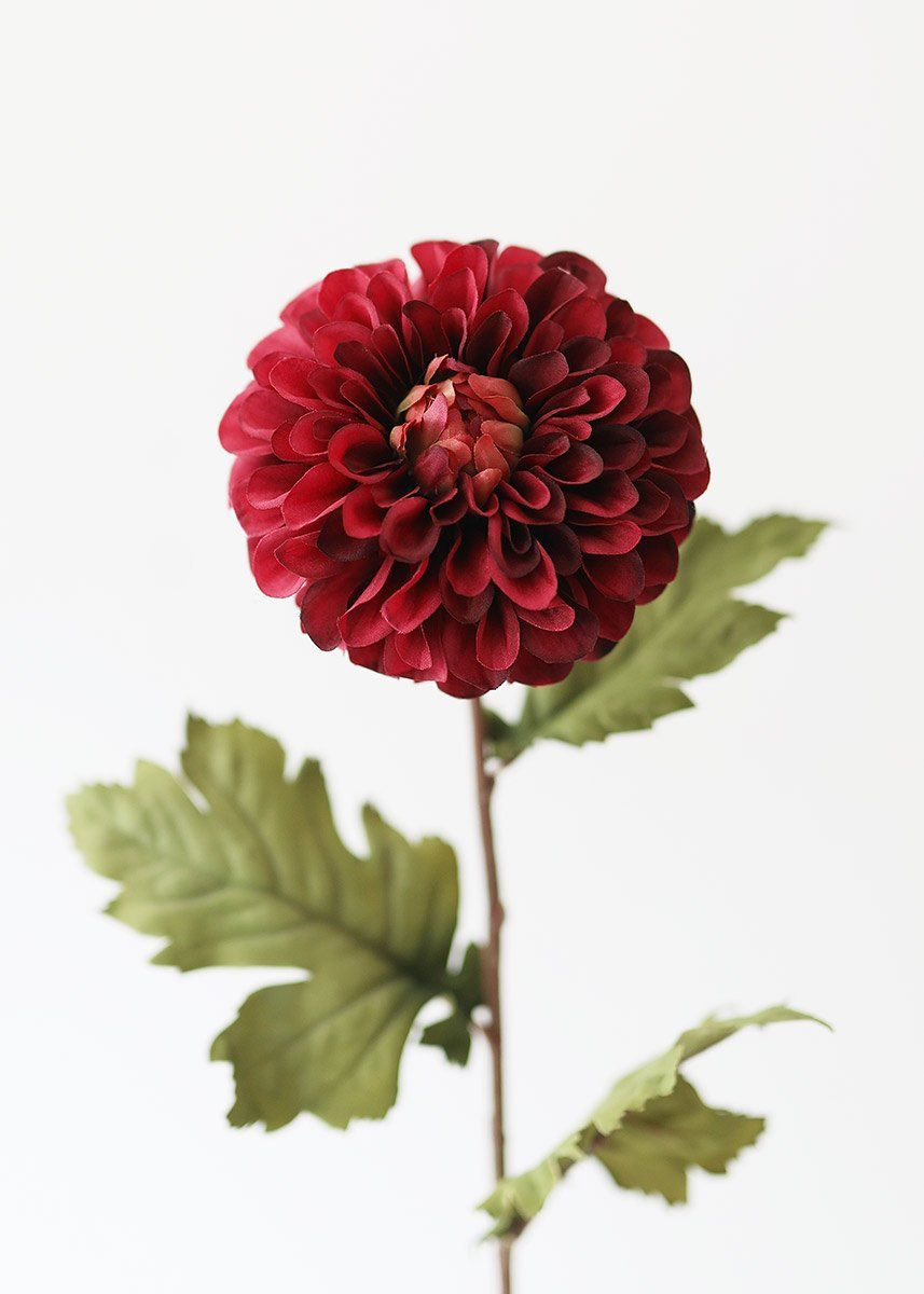 Dahlia Stem In Burgundy Fall Colored Artificial Flowers Afloral In 2020 Dahlia Flower Artificial Flowers Fake Flowers