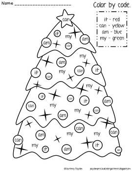 Christmas Color By Sight Word Freebie Christmas Kindergarten