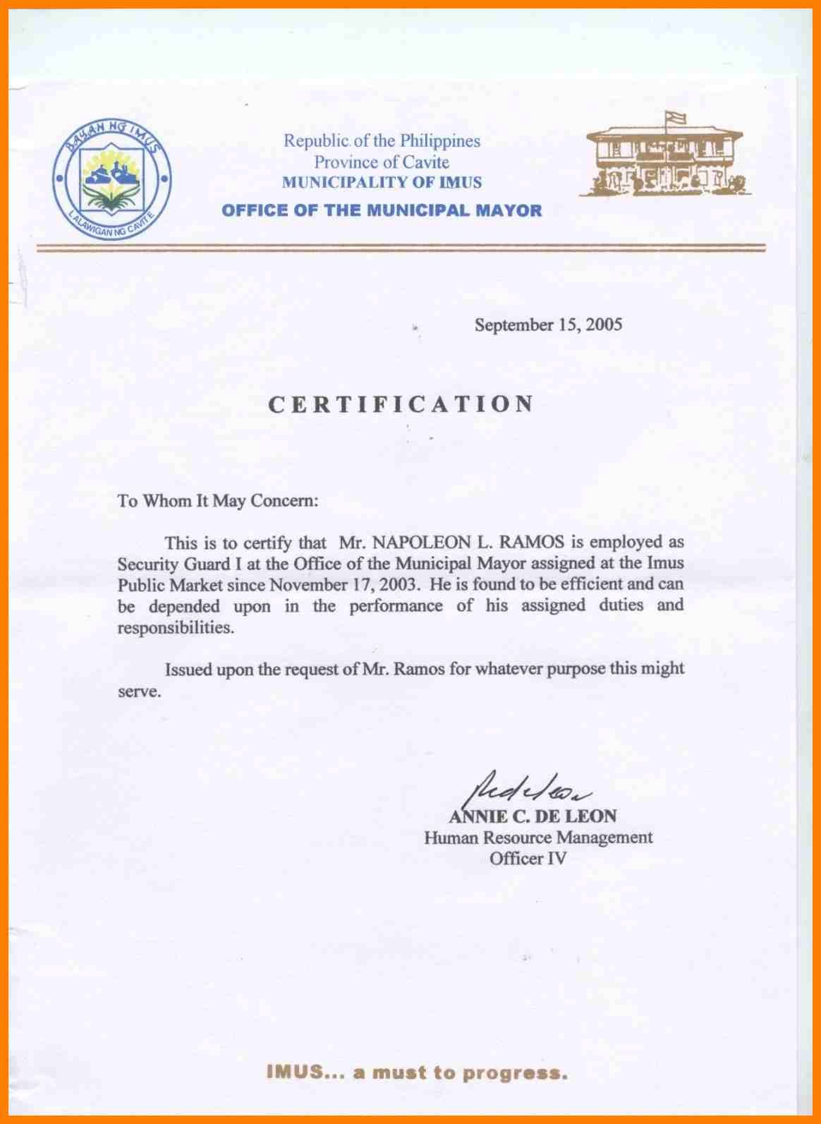 sample certification letter philippines certificate employment