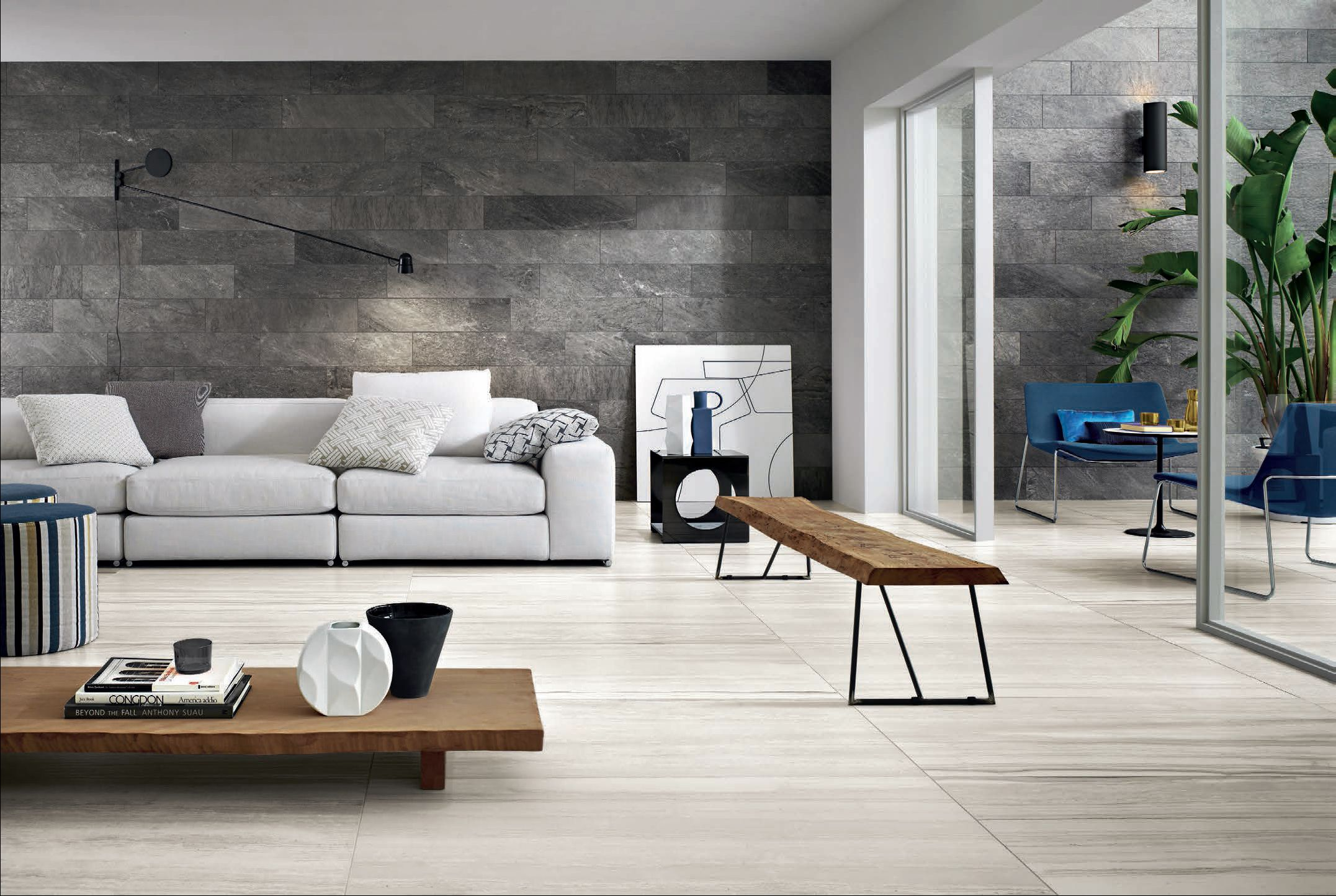 Horizon White Striato Tile X Floor Or Walls Your Pick - Living room wall tiles design