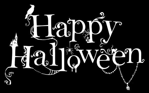 Happy Halloween Logo Black And White