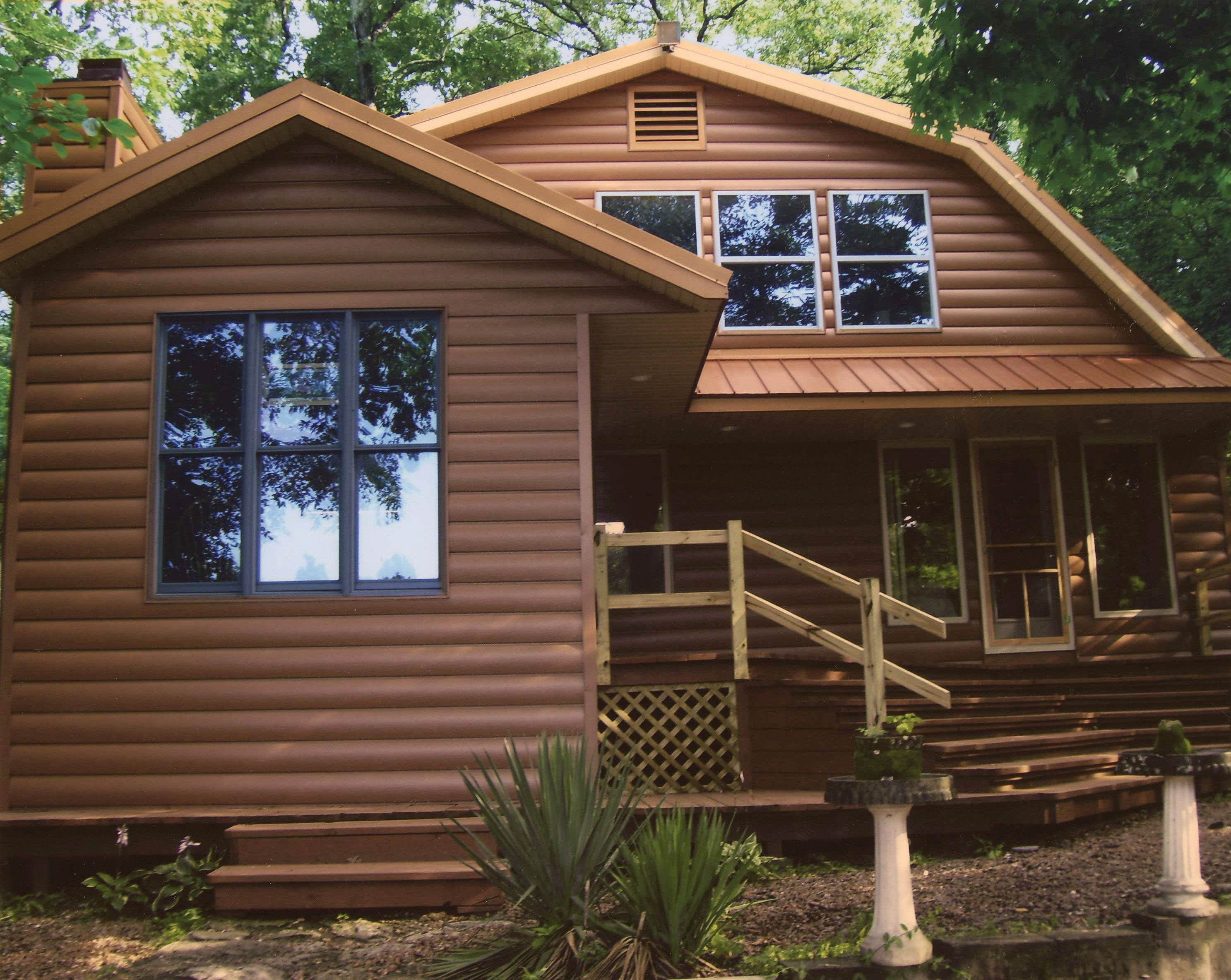 This brown steel siding has the look of genuine wood. You