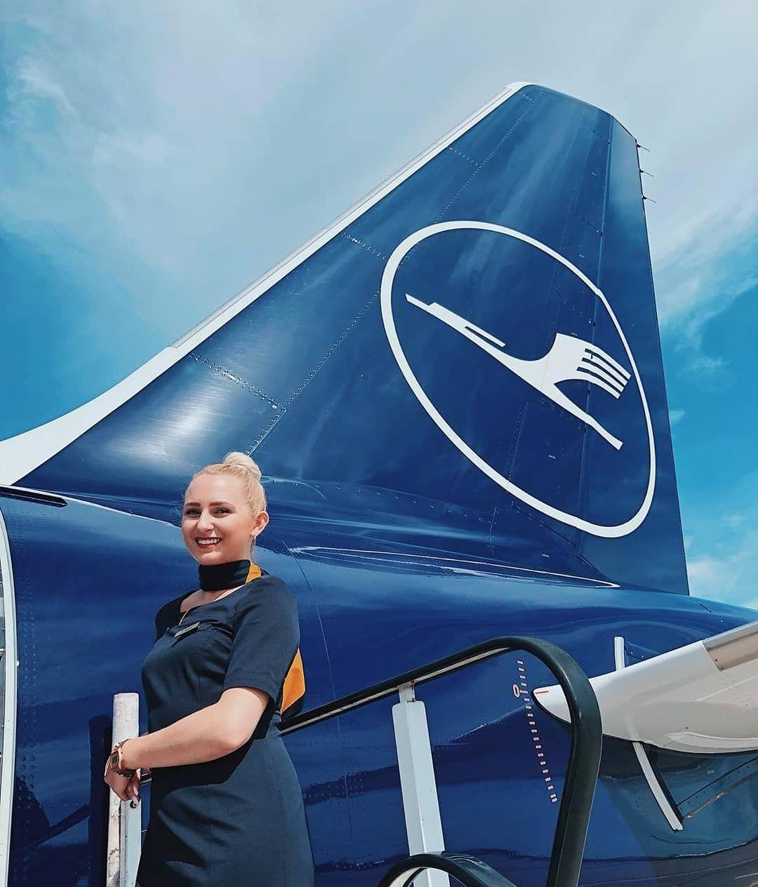 New logo Lufthansa and stewardess. aircraft