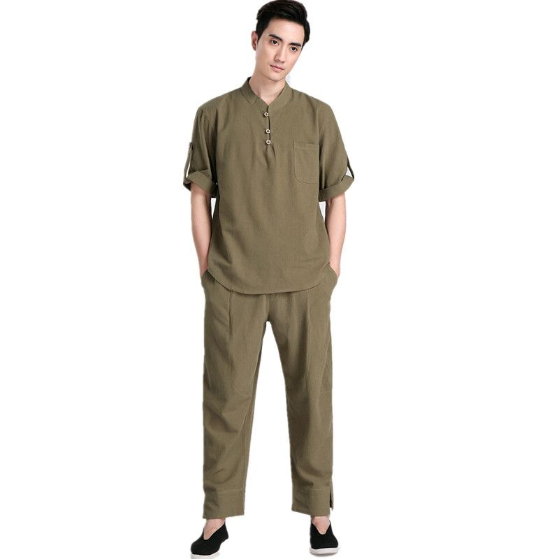 88dc9bfabe New Arrival Green Chinese Men Kung fu Uniform Cotton Tai Chi Suit Vintage  Button Clothing M L