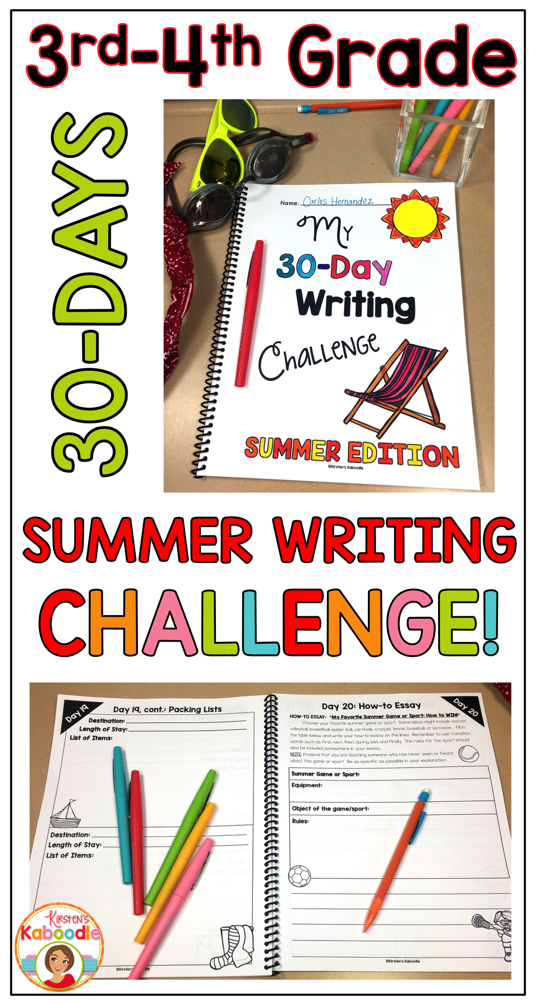 Summer Writing Challenge 30 Days Of Writing For 3rd And