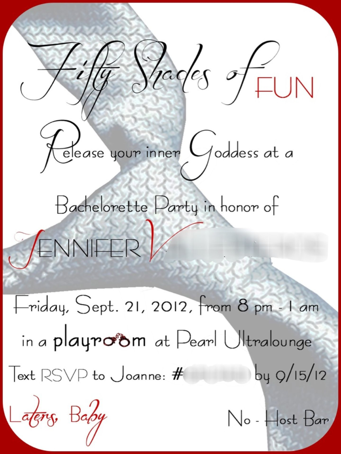 Fifty shades themed bachelorette party invitation. | Party ...