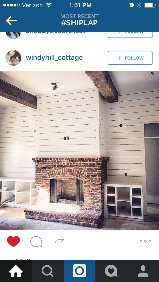 Shiplap Over The Fireplace Home Fireplace Red Brick Fireplaces New Homes