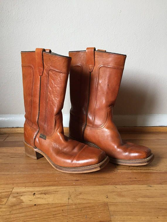 1e501c61c25 Vintage Leather Boots 1970s Wrangler Roper Boot Mens 70s Motorcycle ...