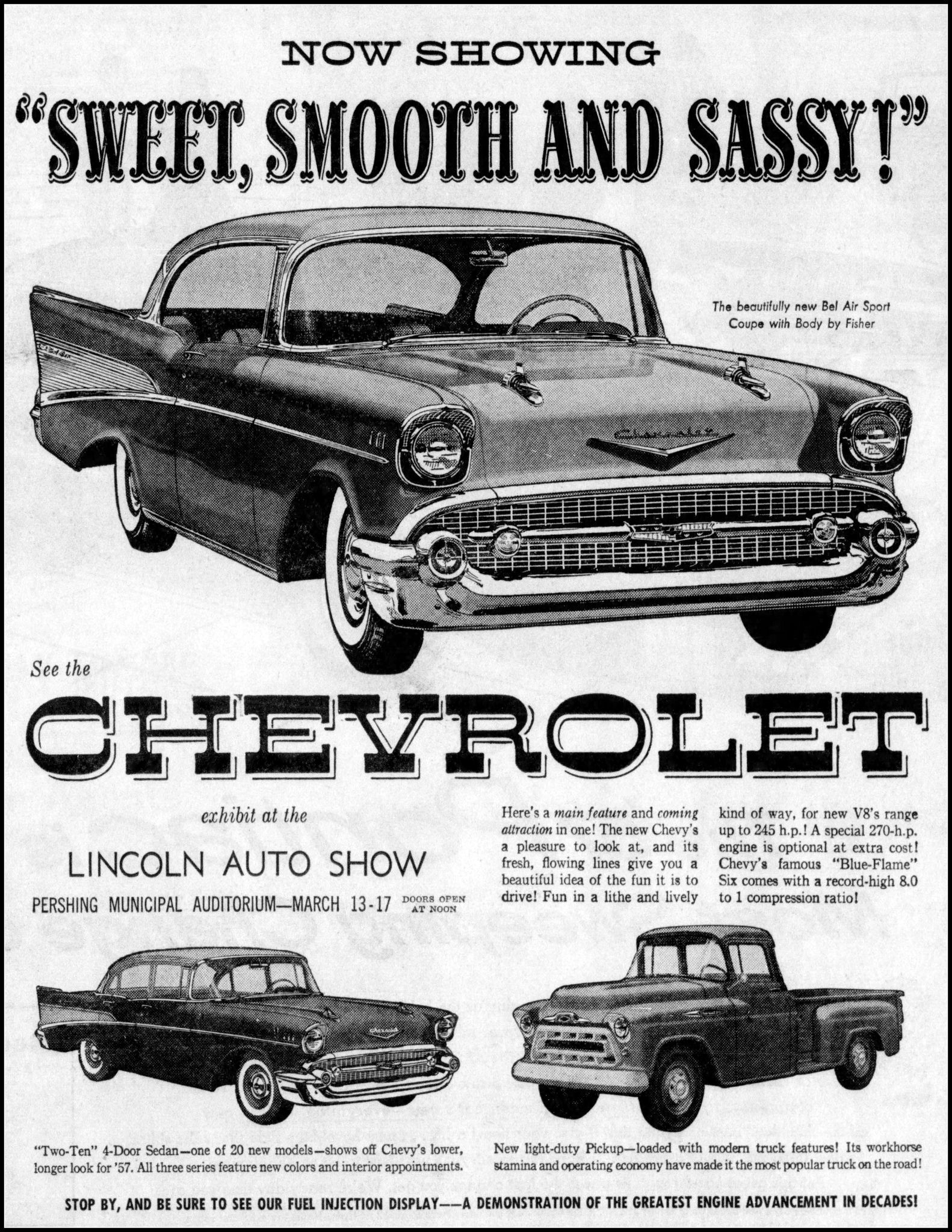 Vintage Newspaper Advertising For The 1957 Chevrolet Automobile In The Lincoln Nebraska Star March 10 1957 Automobile Advertising 1957 Chevrolet Classic Cars