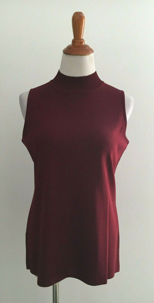 0f5bacde96 Exclusively Misook Dark Red Mock Neck Sleeveless Knit Top sz Medium #Misook  #KnitTop