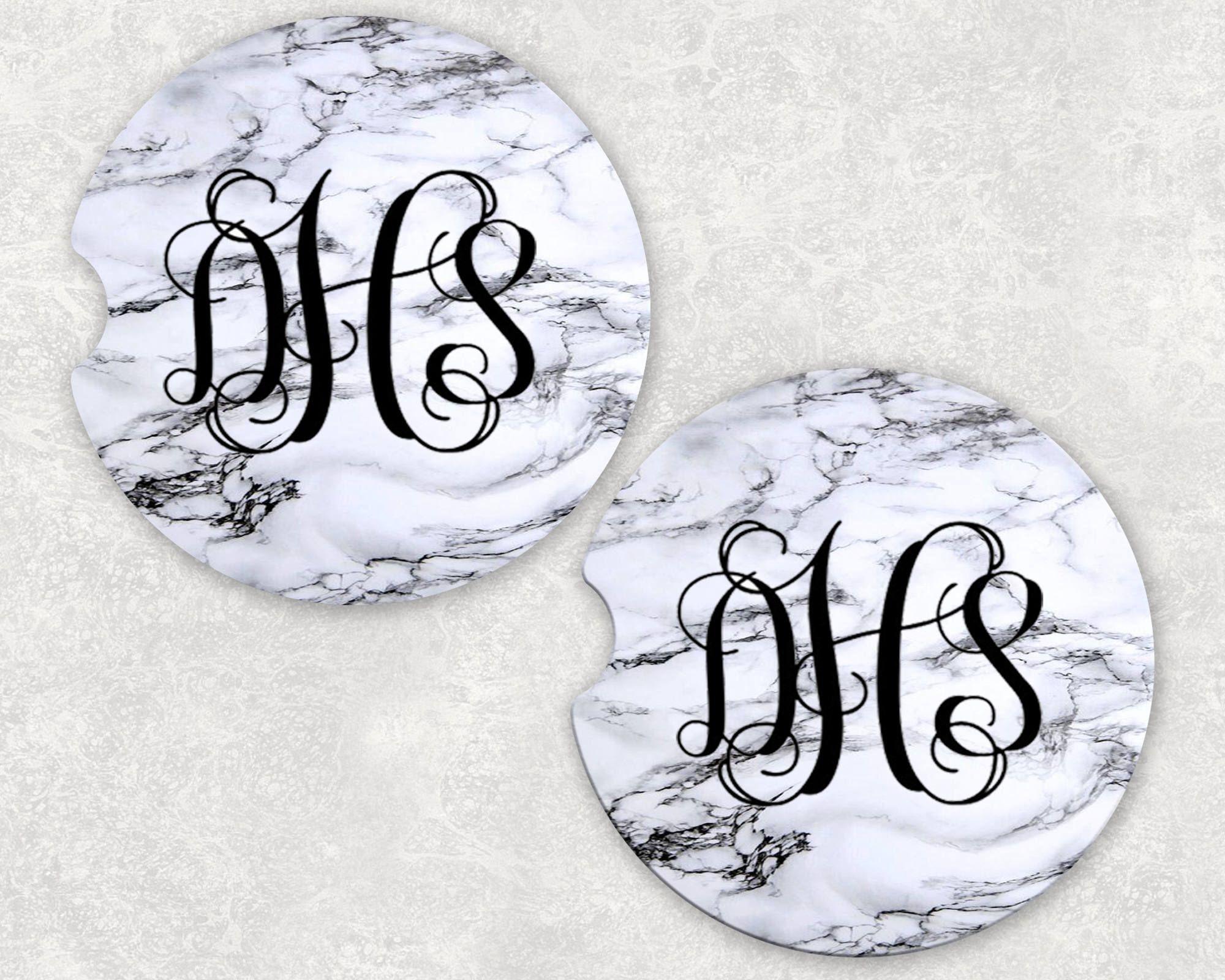 Monograms Marble Car Coasters Set Of2 Bridesmaid Gifts