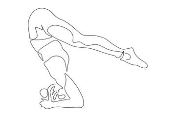 continuous line drawing of women fitness yoga concept. health illustration. , #AFF, #drawing, #women...