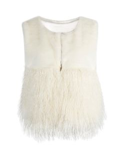 Shop White Faux Fur Waistcoat with Contrast Fluffy Panel from choies.com .Free shipping Worldwide.$39.19