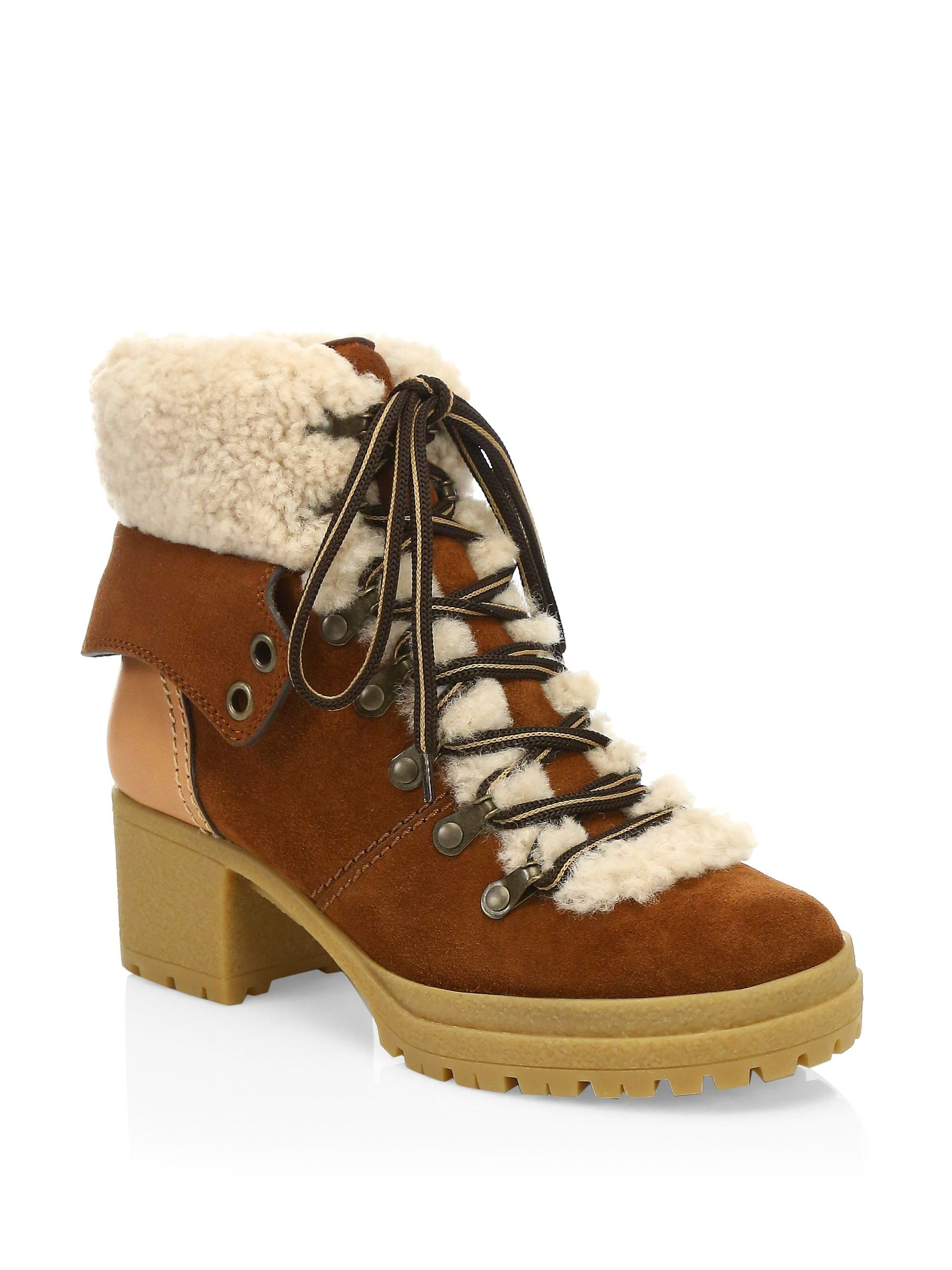 13a1826cf6ce See By Chloé Eileen Lace-Up Shearling-Lined Ankle Boots - Brown 40 (10)