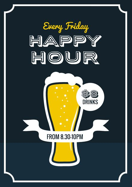 8b6daec0228 DIY Drinks Templates - Easily editable posters, flyers and social media  images about drinks for hospitality. Happy Hour Beer Poster/Flyer/Template  Design ...