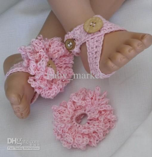 Crochet Pattern For Baby Barefoot Sandals : crochet pattern baby girl shoes sandals flowers barefoot ...