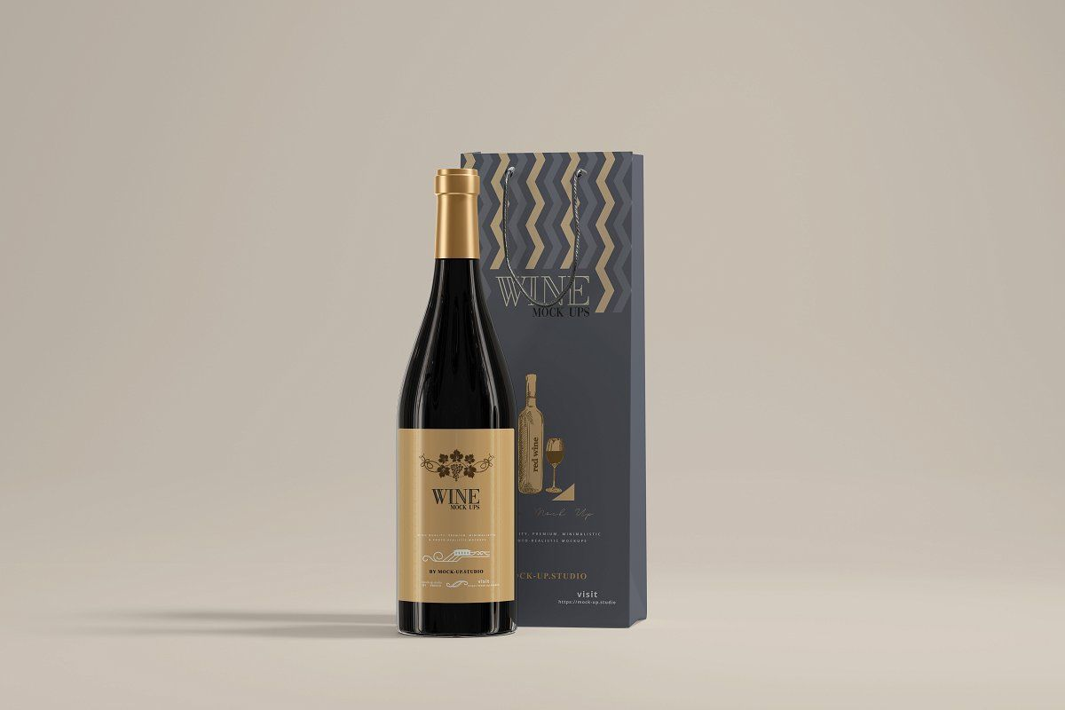 Download Wine Bottles With Bag Mockup Wine Bottle Wine Bottle Bag Bag Mockup