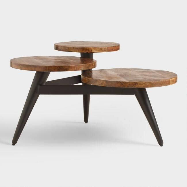 Wood And Metal Multi Level Coffee Table.Wood And Metal Multi Level Coffee Table V2 Overall 35 3 W X 28 D