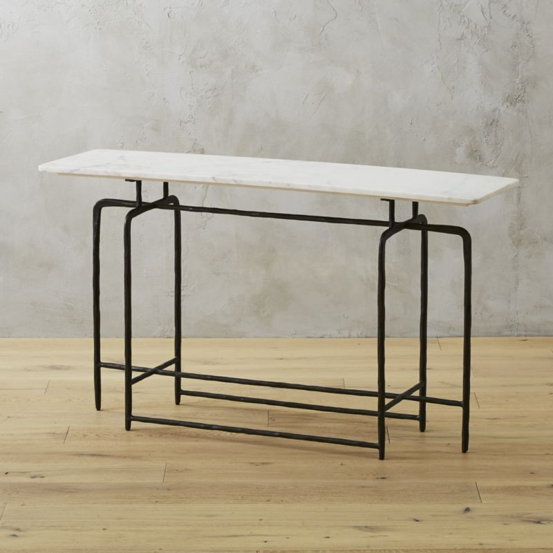 Shop Sophia Marble Console Table Hand Hammered Iron Base Finished