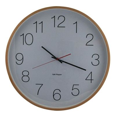 Salt and Pepper - ZONE 50CM NATURAL CLOCK W/ WHITE FACE