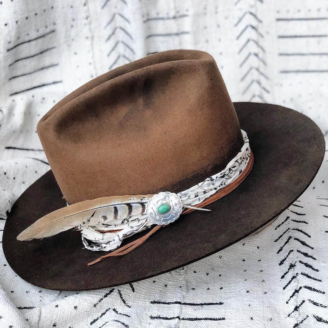 453bd2ec1 faded hand-dye, pin, bandana as hatband, leather | western in 2019 ...