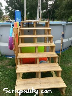 Pallet Pool Steps with Noodle Storage is part of garden Pool Intex - I needed a safer entry to our swimming pool  I used pallet boards and a few store bought pieces to make it happen  For more details visit scrapality com  garden outdoor palletdiyideas recyclingwoodpallets storage