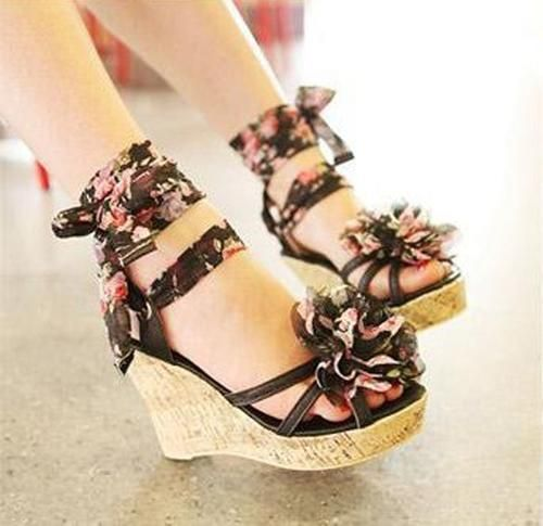 Wholesale 2013 sandals female sweet broken bohemia flower wedges high heels open toe platform shoes