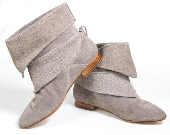 32adfd0bb1941 VTG 80's Stone Gray Suede Ankle Boots size 7 1/2 Womens Leather ...