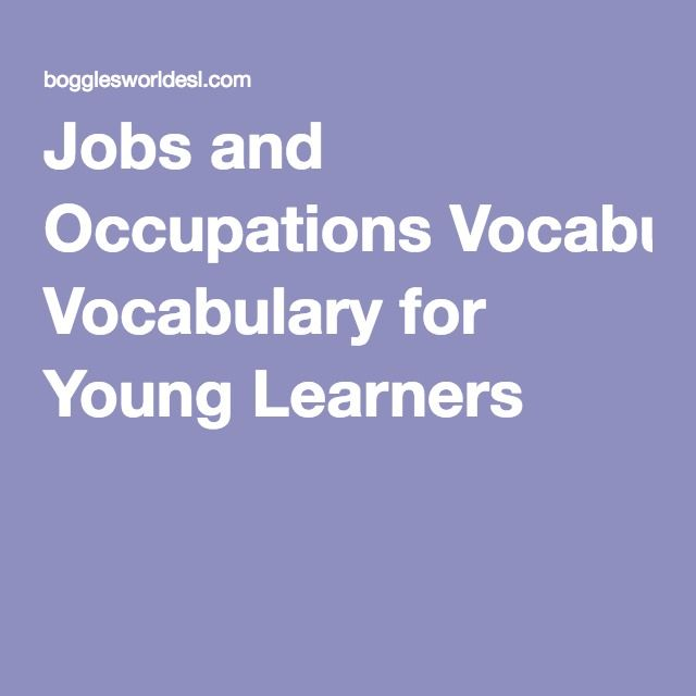 Jobs and Occupations Vocabulary for Young Learners