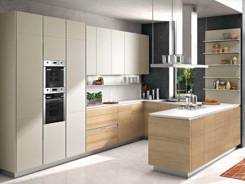 Cuisine-Blanc-Laqué-Plan-Travail-Boisjpg (800×600) Cozinha - cuisine blanc laque plan travail bois