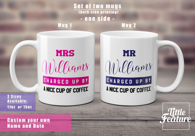 mugs Set of two funny coffee mugs Mr and Mrs mug custom surname