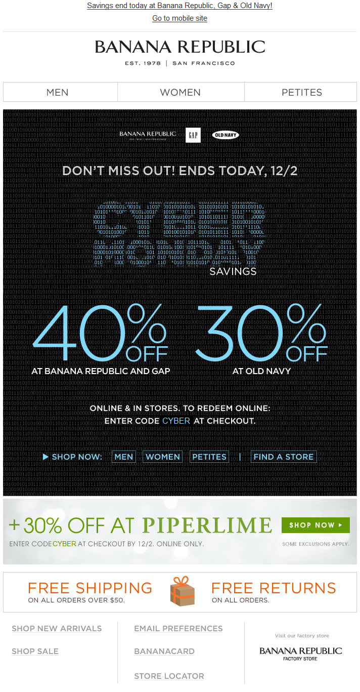 Banana Republic Cyber Monday Discounts At 3 Brands Br Old Navy Gap Cyber Themed Bi Cyber Monday Email Cyber Monday Inspiration Black Friday Cyber Monday