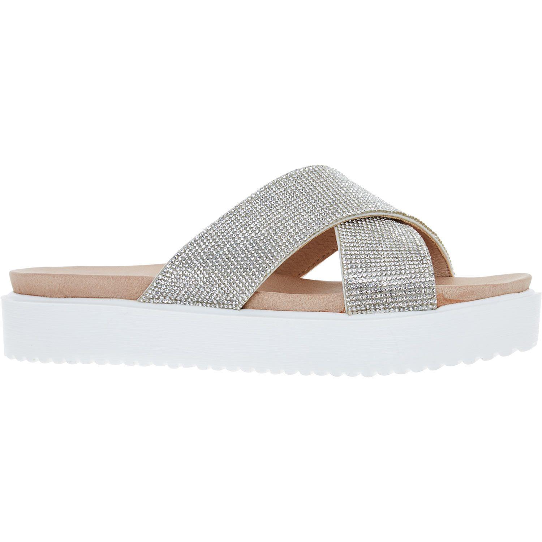 Xti Silver Diamante Slider Sandals