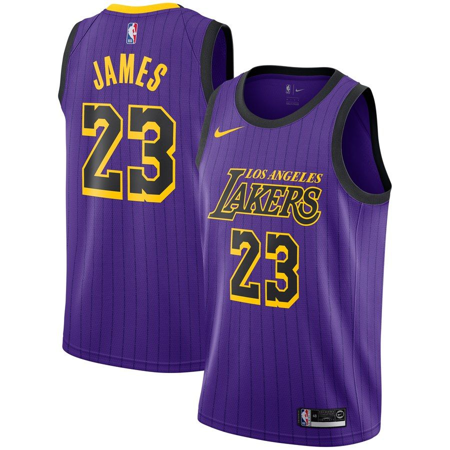 Youth Los Angeles Lakers Lebron James Nike Purple 2018 19 Swingman Jersey City Edition In 2020 Los Angeles Lakers Lebron James Lakers