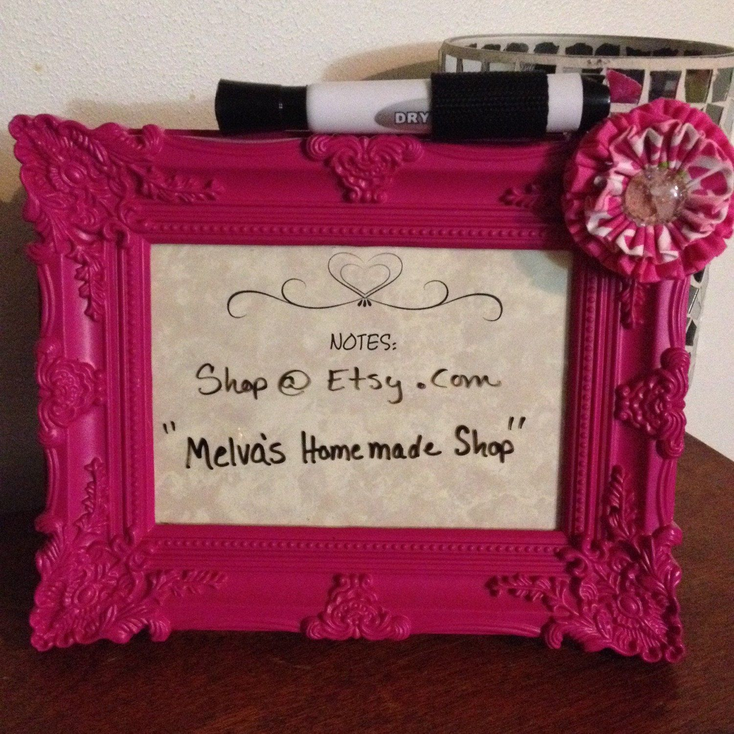 Erase board-Pictured frame dry erase board - pink plastic picture ...
