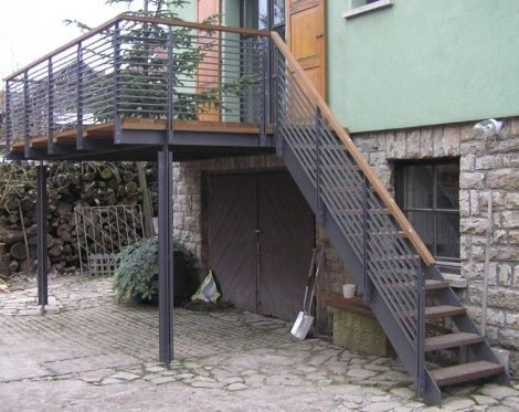 neuer Stahlbalkon Garten Pinterest Escaleras exteriores