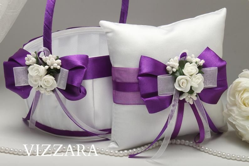 Lace Bearer Pillow Purple Heart Wedding Flower Lace Ring bearer Girl Basket Set