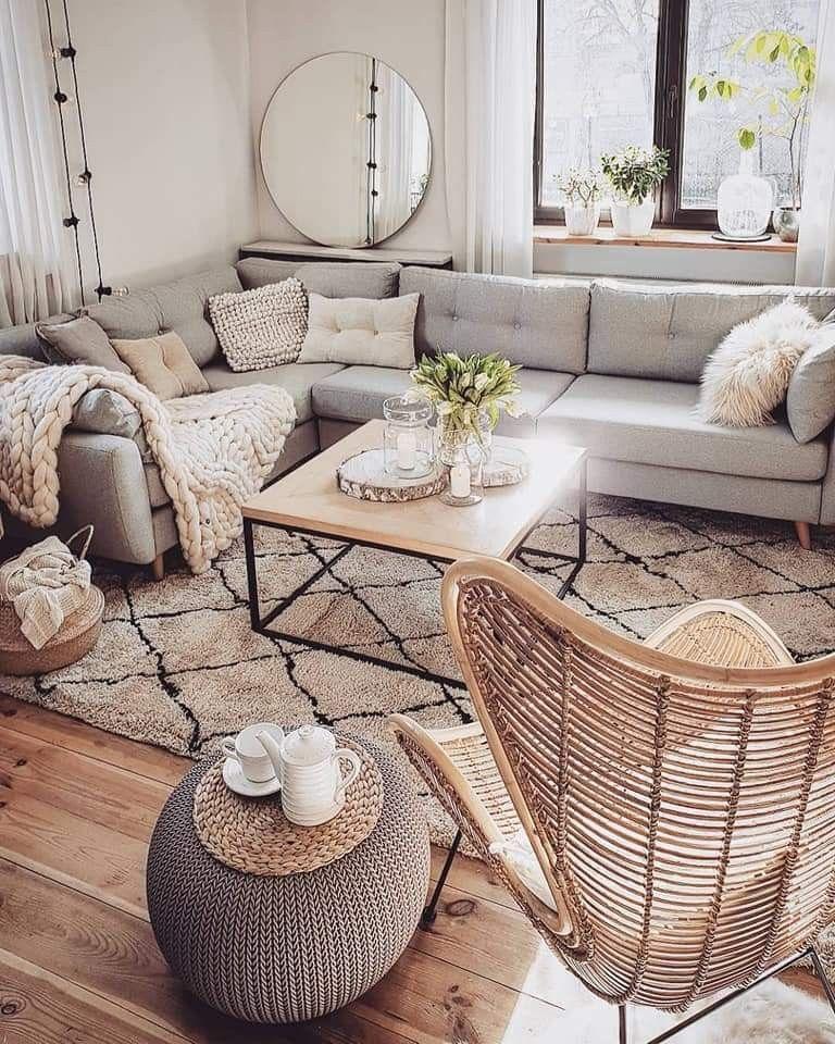 Neutrales Dekor Wohnzimmer. Lieben Sie Grau und Weiß mit natürlichen Tönen