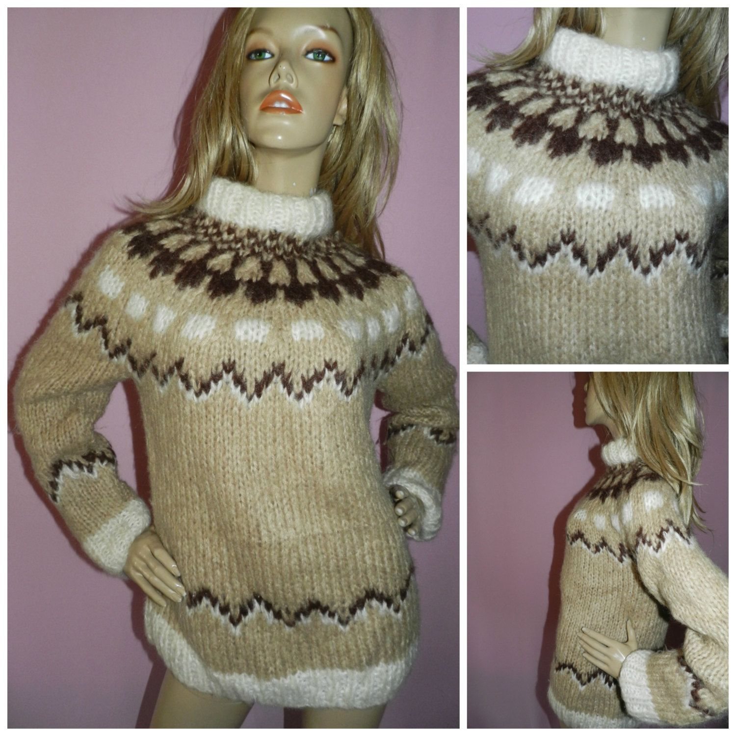 Vintage 60s 70s light brown patterned fluffy wool chunky knit icelandic sweater jumper s m