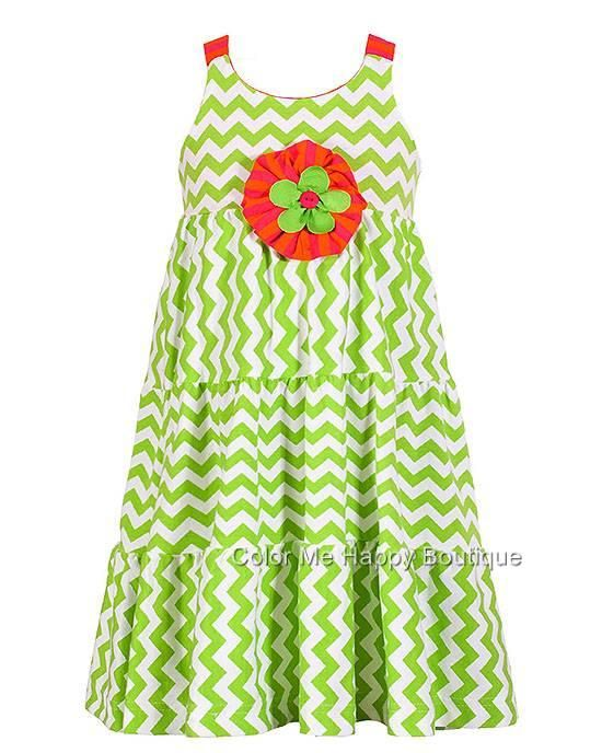 a274307f4 Peaches n Cream Lime Chevron Tea-Length Tiered Knit Dress Girls sz.4 ...