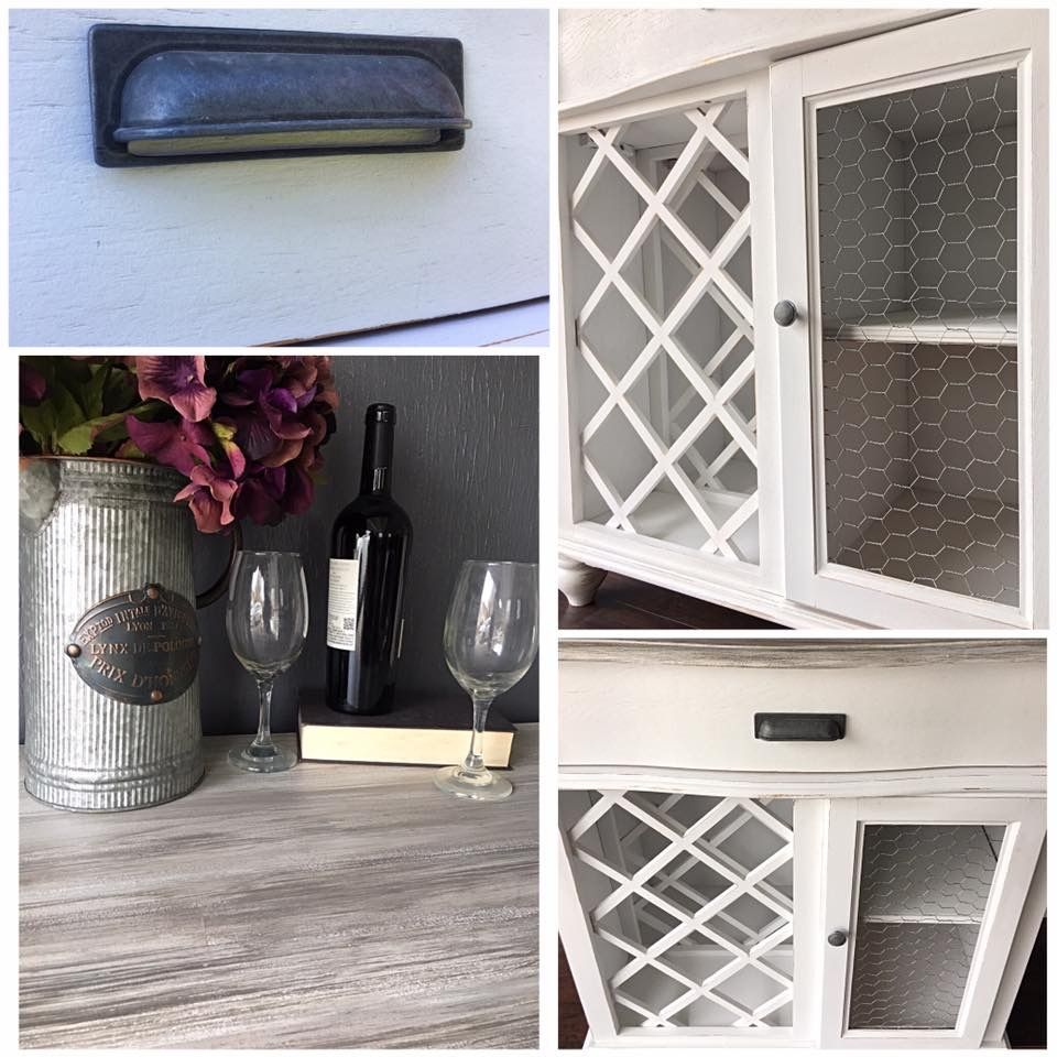 Farmhouse Style wine/Bar Cabinet in Antique white, chicken wire and ...