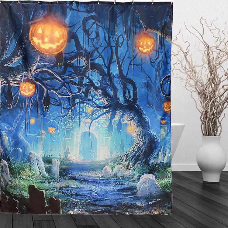 150x180cm Halloween Ghost Pumpkin Polyester Shower Curtain Bathroom - halloween ghost decor