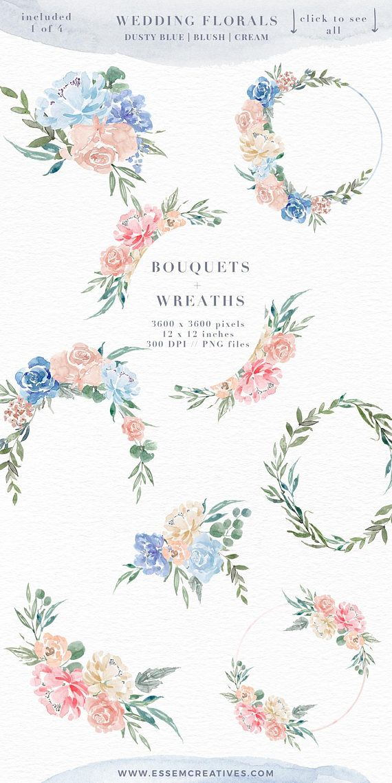Watercolor Flowers Clipart Dusty Blue Wedding Invitation Boho Floral Clip Art Rustic Bohemian Vintage Bridal Shower Frames PNG