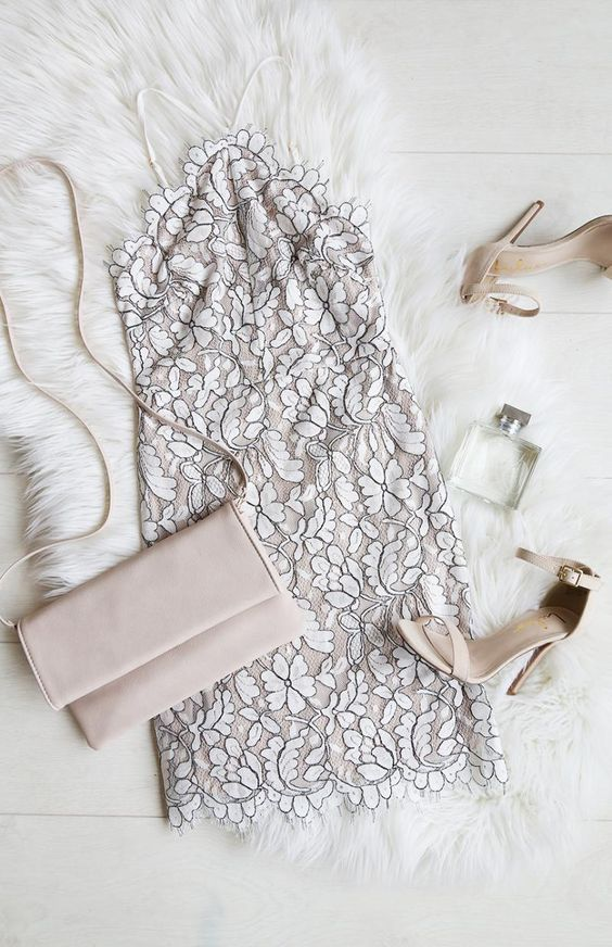 Pair A White And Black Lace Dress With Blush Colored