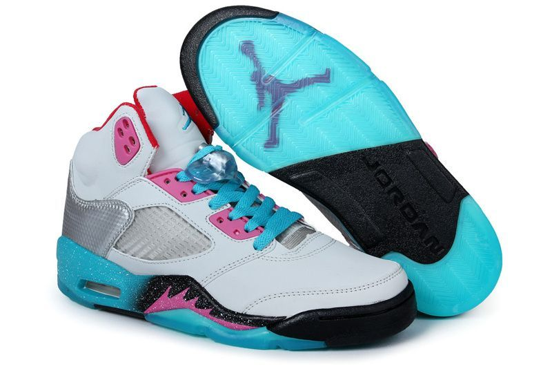 Air Jordan 5 Womens Miami Vice White-Blue/Hot Pink-Red [Womens