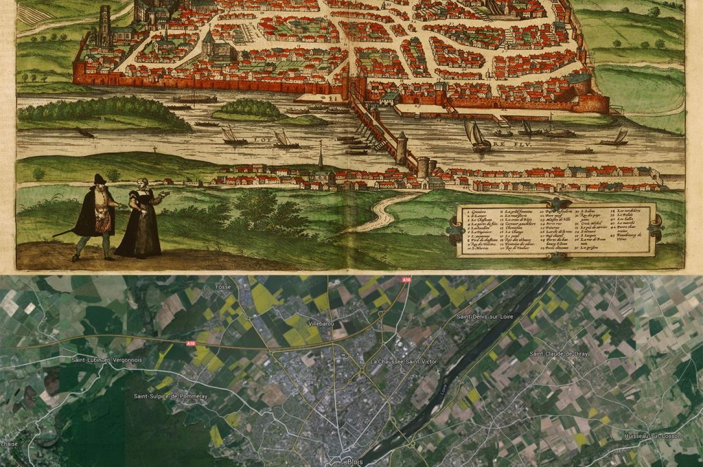Blois France Map Then1575 and Now2015 Oldmaps OldCities