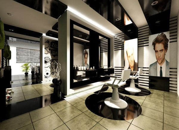 interior barber shop design black and white barbershop on behance - Barbershop Design Ideas