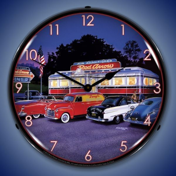 Retro Red Arrow Diner Led Lighted Wall Clock 14 X 14 Inches Wall Clock Light Clock Wall Clock